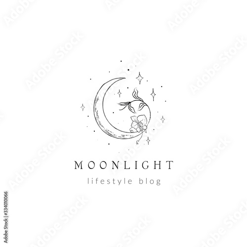 Fotomural abstract hand drawn crescent moon logo with stars, orchid flower and leaves