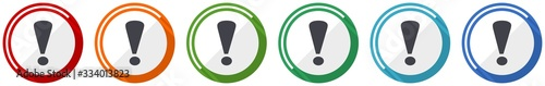 Fototapeta Exclamation sign icon set, flat design vector illustration in 6 colors options f