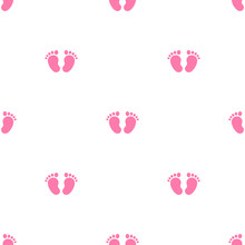 Pink Kids Or Baby Feet And Foot Steps Seamless Ornament. New Born, Pregnant Or Coming Soon Child Footprints.