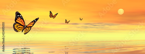 Obraz na plátně Butterflies flying to the sunset upon the ocean - 3D render