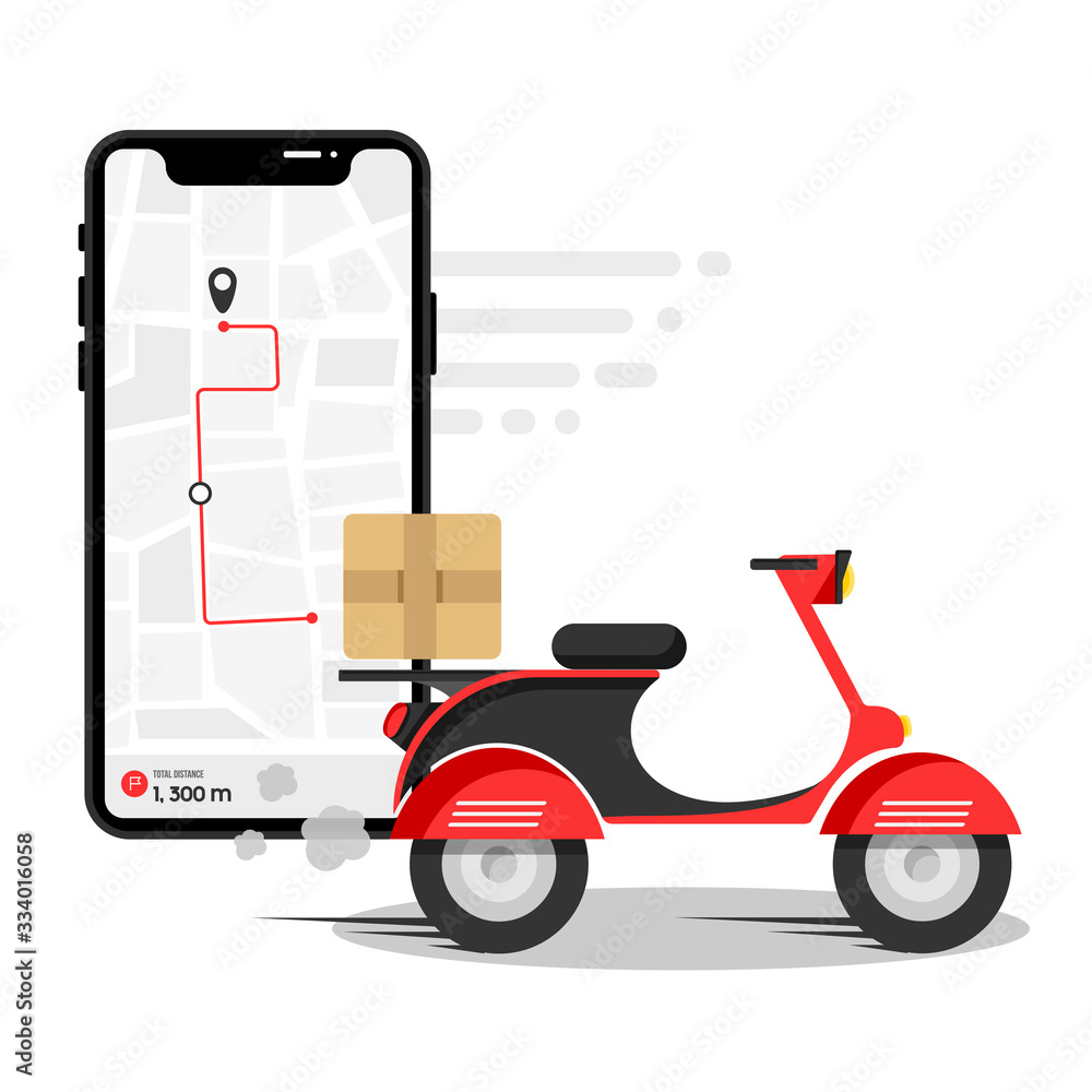 Fototapeta Online delivery service , online order tracking, delivery home and office. Scooter delivery. Shipping.