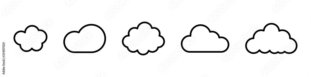 Fototapeta Cloud line vector icon. Set of cloud line isolated signs or icon. Abstract shape. Linear graphic. Cloud outline set.