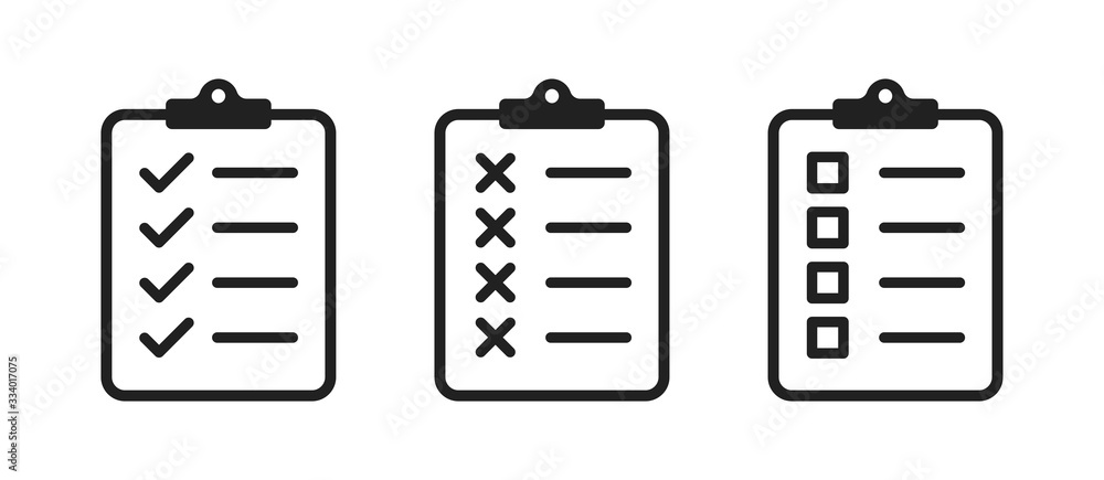 Fototapeta Clipboard checklist or document. Vector isolated icons or signs. Clipboard with checkmark cross and text. Clipboard concept vector. Checklist document. Clipboard icon vector.