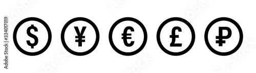 Currency icon. Vector isolated icons or signs. Dollar yuan euro pound publes signs or symbols. Finance, business currency exchange. Money currency icon. Black vector currency elements.
