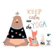 Cute Animals Sitting In Yoga L...