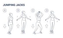Jumping Jacks Exercise Girl Wo...