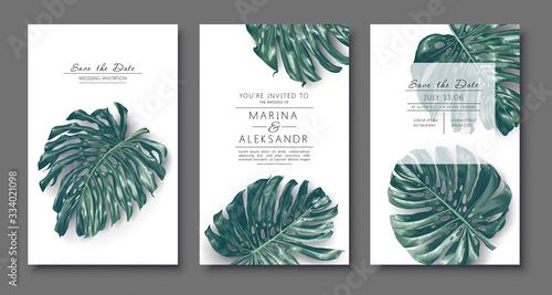 Fotografia Botanical wedding invitation card