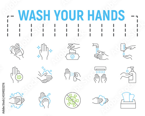 Wash your hands line icon set, health symbols collection, vector sketches, logo illustrations, hygiene icons, stop coronavirus signs linear pictograms package isolated on white background. Wall mural