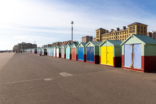 Colourful Beach Huts On The Seafront Esplanade, Brighton, Sussex, UK