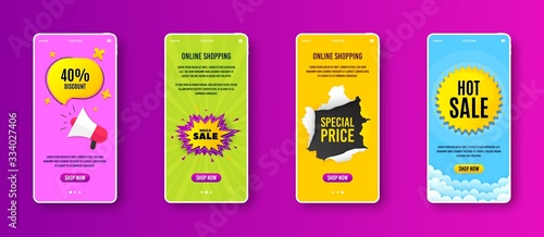 Mega sale badge. Phone screen banner. Discount banner shape. Coupon bubble icon. Sale banner on smartphone screen. Mobile phone web template. Mega sale promotion. Vector