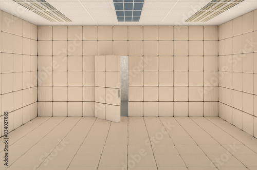 Fotografia Empty padded cell with opened door. 3D rendering