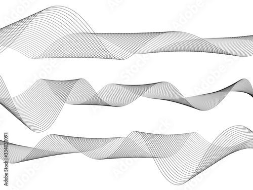 Obraz Abstract wave element for design. Digital frequency track equalizer. Stylized line art background. Vector illustration. Wave with lines created using blend tool. Curved wavy line, smooth stripe. - fototapety do salonu