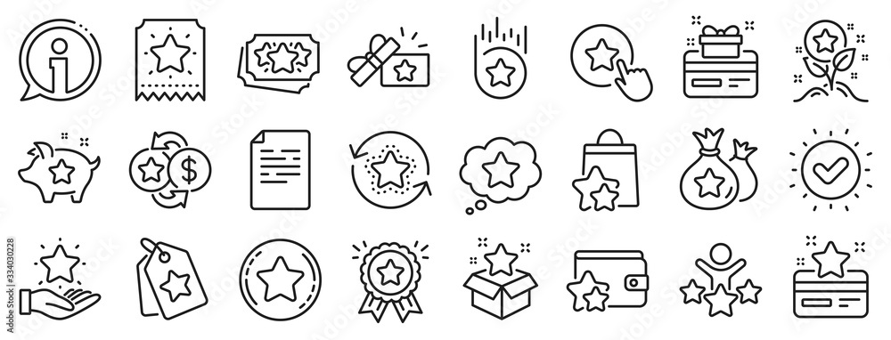 Fototapeta Bonus card, Redeem gift and discount coupon signs. Loyalty program line icons. Lottery ticket, Earn reward and winner gift icons. Shopping bag, loyalty card and lottery present. Vector