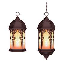 Realistic Ramadan Lanterns Set