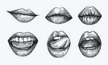 Hand-drawn Sketch Of Lips Set....