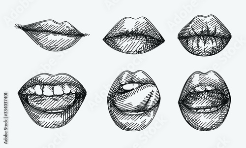 Obraz Hand-drawn sketch of lips set. Set of smiling and kissing lips, lips licking a tongue, smile with opened mouth, serious, sexy, seductive lips. - fototapety do salonu