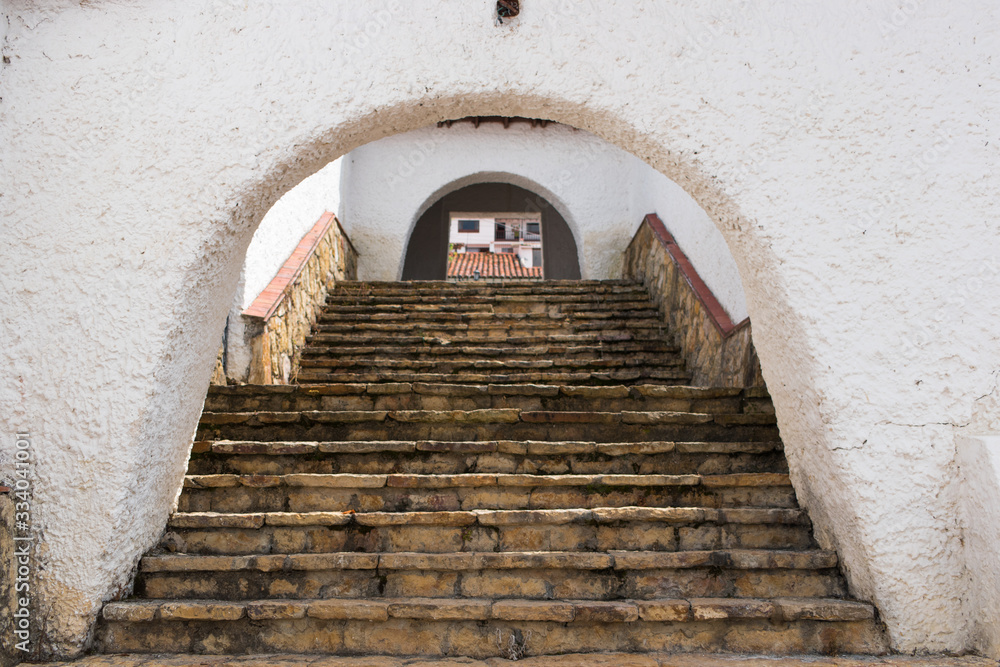 Stairs of a village with ancient architecture