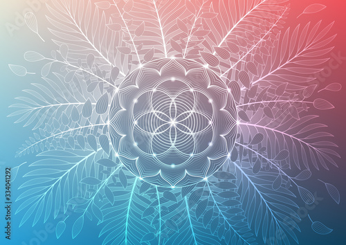 Vector template of banner, horizontal format; Spiritual sacred geometry; Flower of life and lotus framed of plants and palm leaves on gradient background; Yoga, mindfulness meditation and relax Fototapet