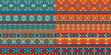A Set Of Two Seamless Patterns With A Mexican Pattern. Decorative Borders With A Geometric Pattern. Texture Background.