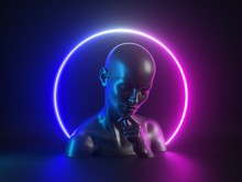 3d Render, Abstract Neon Background With Human Body Parts. Female Mannequin Sculpture: Head, Face, Hand. Glowing Light Ring. Social Issue: Personal Identification, Critical Thinking, Meditation, Alone