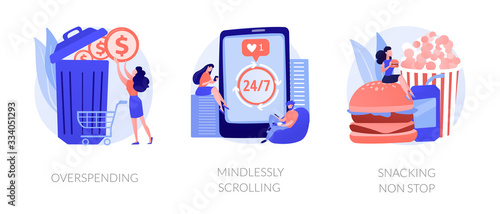 Fototapeta Bad expenses management, social media addiction, unhealthy nutrition icons set. Overspending, mindlessly scrolling, snacking non stop metaphors. Vector isolated concept metaphor illustrations obraz