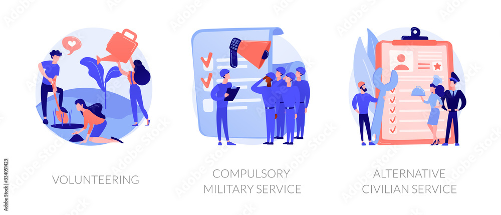 Fototapeta Voluntary work, country protection, employment industry icons set. Volunteering, compulsory military service, alternative civilian service metaphors. Vector isolated concept metaphor illustrations