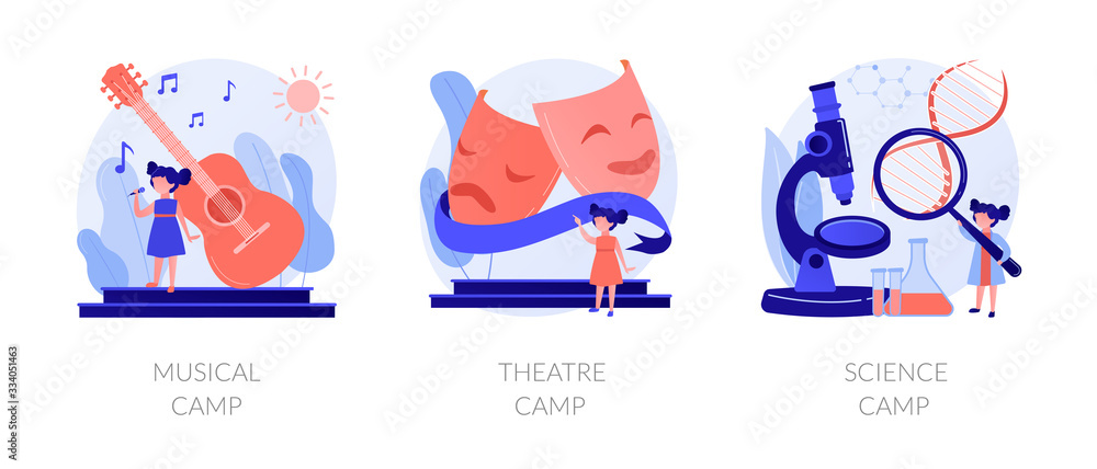 Fototapeta Artistic and scientific activities for children set. Musical, theatre science, camps metaphors. Developing creativity. Kids hobbies and entertainment. Vector isolated concept metaphor illustrations