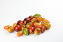 Fresh Ripe Mixed Tomato Verity Assorted Color On White Background