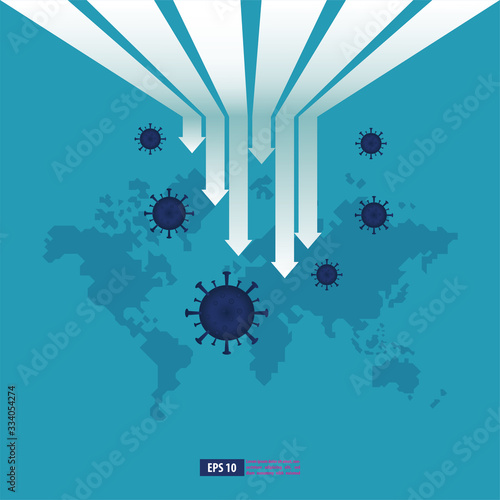 Fototapety, obrazy: Economic downturn caused by a Coronavirus pandemic or COVID-19 concept. Businessman faces an economic crisis which is marked by arrow symbol. Vector illustration