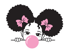 Vector Illustration Of A Girl With Afro Puff Hair Blowing Pink Bubble Gum.
