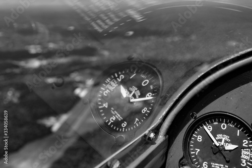 Reflection of altimeter in a glider canopy over New Jersey USA Canvas Print