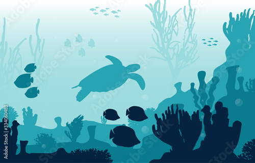 Turtle Fish Marine Animals Coral Reef Underwater Sea Ocean Illustration Fototapeta