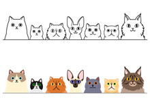 Cute Cartoon Cats Border Set