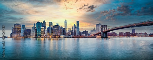 Photo New York city sunset panorama