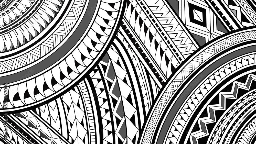 Fototapeta 8K Maori Polynesian pattern design illustrations on a white background.