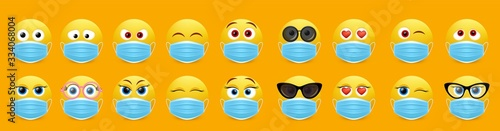 Canvastavla Corona virus face mask emoji set, vector isolated illustration