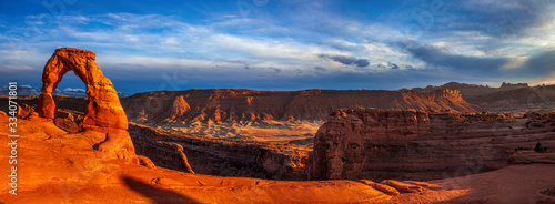 Panorama of Utah's landmark Delicate Arch at dusk