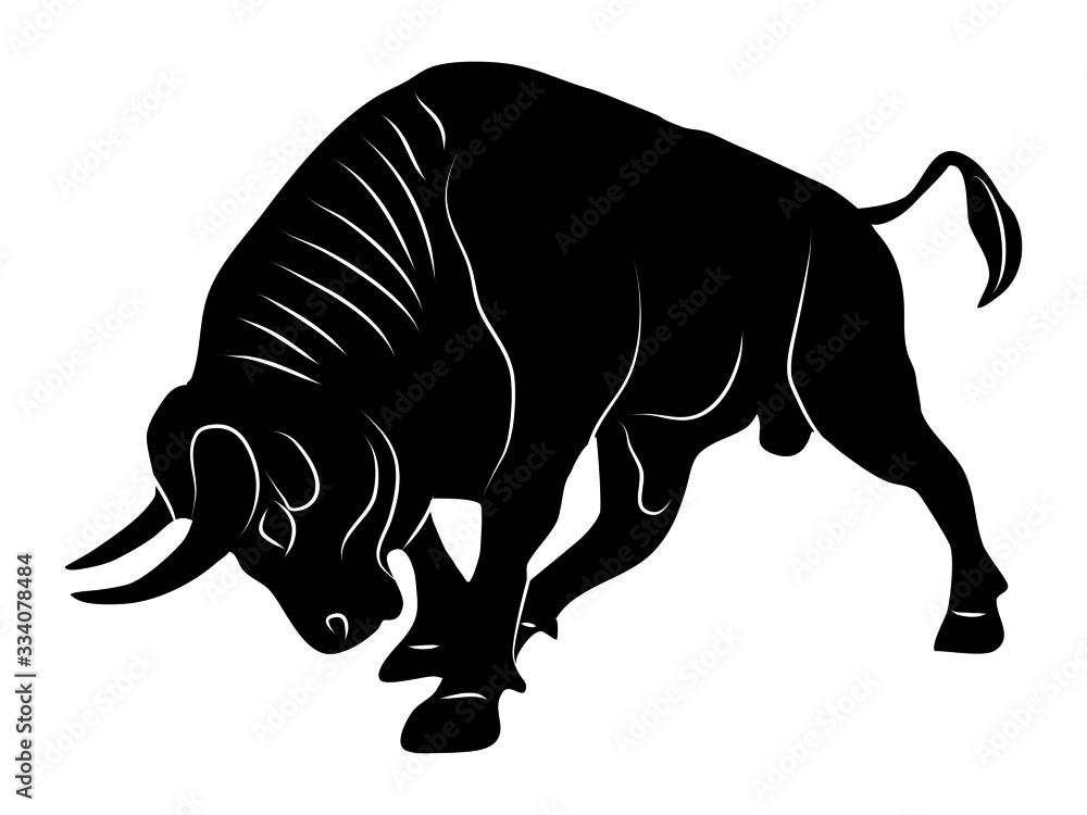 Fototapeta Bull silhouette attack logo On a transparent background