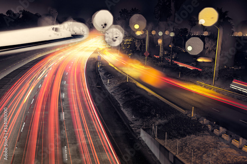 Photo Fast Moving Cars On Ventura Freeway 101 At Night With Street Lights And Bokeh Re