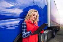 Portrait Of Truck Driver Doing...
