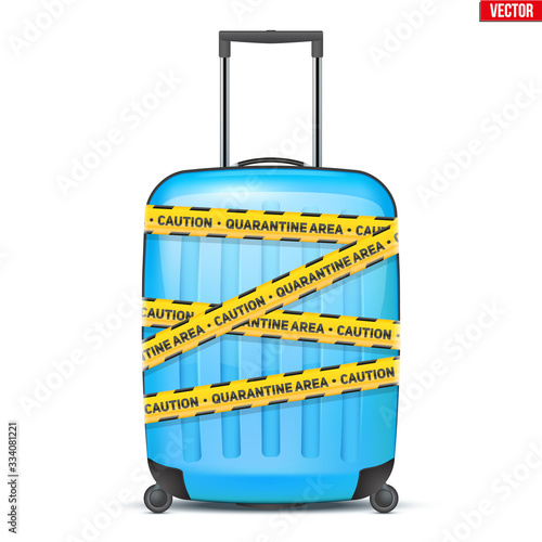 Fototapeta Blue plastic luggage suitcase wrapped with warning quarantine tapes. The collapse of the tourism industry. World Travel Stop. Vector Illustration isolated on white background. obraz