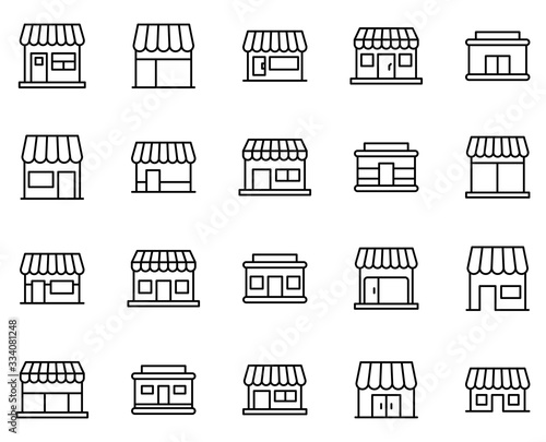 Shop line icon Canvas Print
