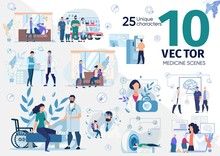 Patients On Doctors Appointment, Sick And Injured People Visiting Hospital, Medical Professionals Counseling Online Parents With Children, Senior People Scenes Trendy Flat Vector Illustrations Set