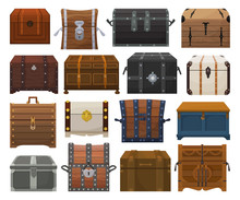 Chest Box Isolated Cartoon Set...