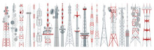 Radio Tower Isolated Cartoon Set Icon. Vector Cartoon Set Icon Broadcast Antenna. Vector Illustration Radio Tower On White Background.