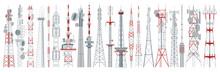 Radio Tower Isolated Cartoon Set Icon. Vector Cartoon Set Icon Broadcast Antenna. Vector Illustration Radio Tower On White Background.
