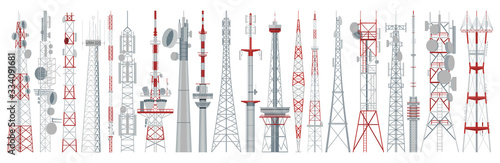 Fotografie, Obraz Radio tower isolated cartoon set icon