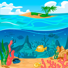 Fototapeta na wymiar Cartoon Color Underwater World Scene Concept. Vector