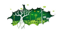 Ecology Concept With Big Tree And Green Eco Life Background.Environment Conservation Resource Sustainable.Vector Illustration.