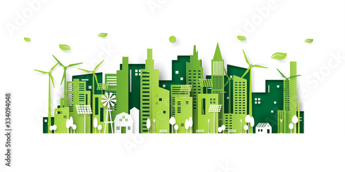 Ecology concept with green eco city background.Environment conservation resource sustainable.Vector illustration. - 334094048